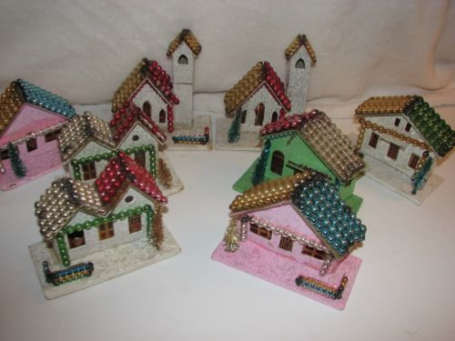 8 Vtg Xmas Mercury Glass Beaded Ornament Putz House Village Church Mica Japan   eBay