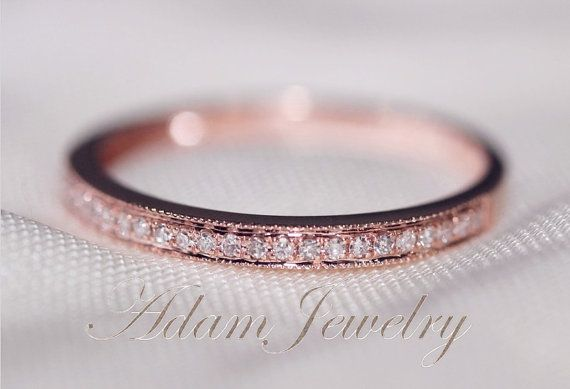 MILGRAIN 14k Rose Gold Wedding One Day Shipping Ring Pave Diamonds Ring/  Engagement Ring/ Matching Band/ Half Eternity Band/ Promise Ring on Etsy, $180.00