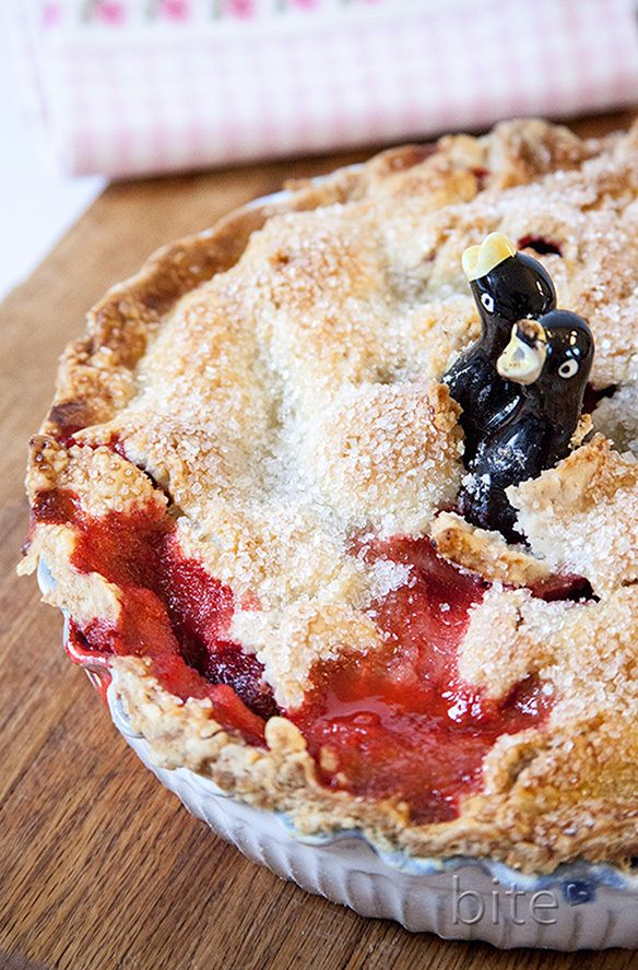 strawberry rhubarb pie - summer on a plate! (The ceramic pie bird lets ...