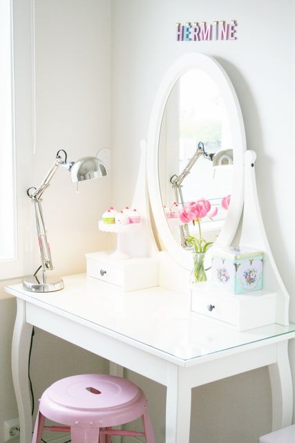 kids desk / dressing table , cute and I like the glass top