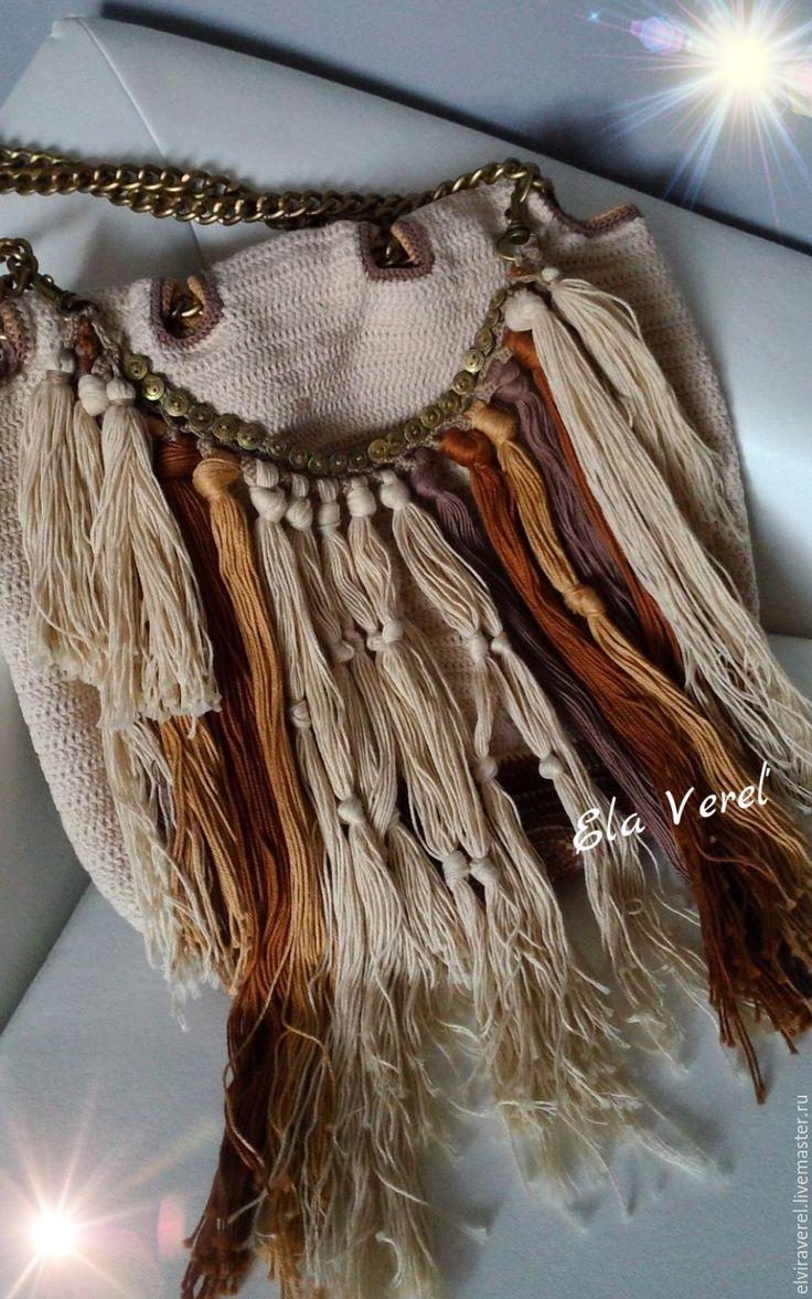 Купить Вязаная сумка '' ШАРЛИ Бохо''. - комбинированный, модный аксессуар, модная сумка