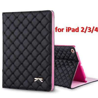 Newest Fashion Bowknot PU Leather Case Stand Cover for Funda iPad Air 2 for iPad Air 1 for iPad Mini 1234 Capa Para with HD Film