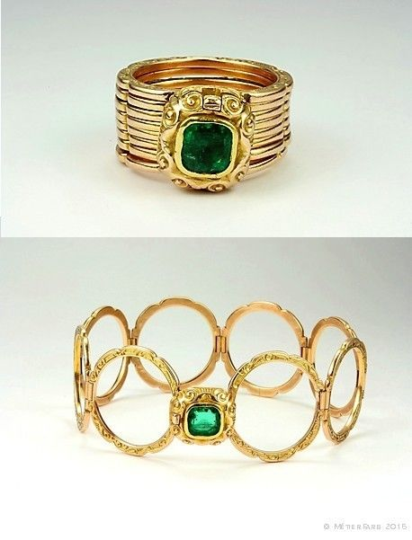 A Rare Italian Gold and Emerald Convertible Bracelet Ring, c.1840