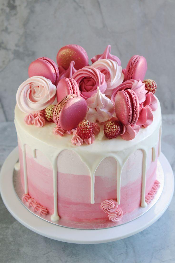 Es ist ein Mädchen! Rosa Babypartykuchen mit Ombré-Buttercreme, garniert mit Maca …   – Hannah Bakes – Cakes
