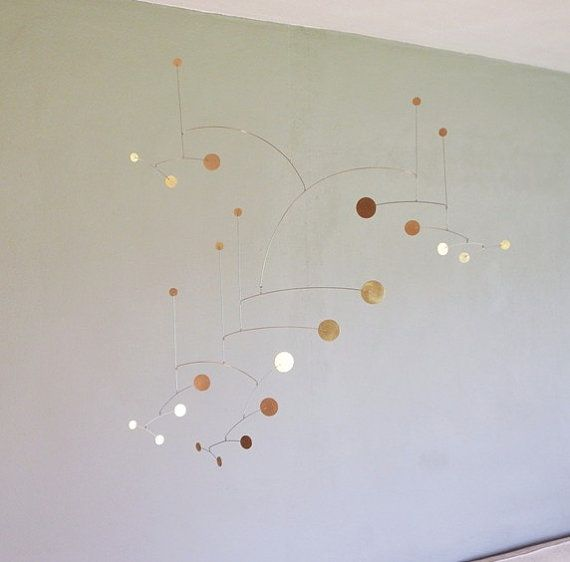 Brass Dots Metal Art Mobile 36 x 36 size by comometalworks