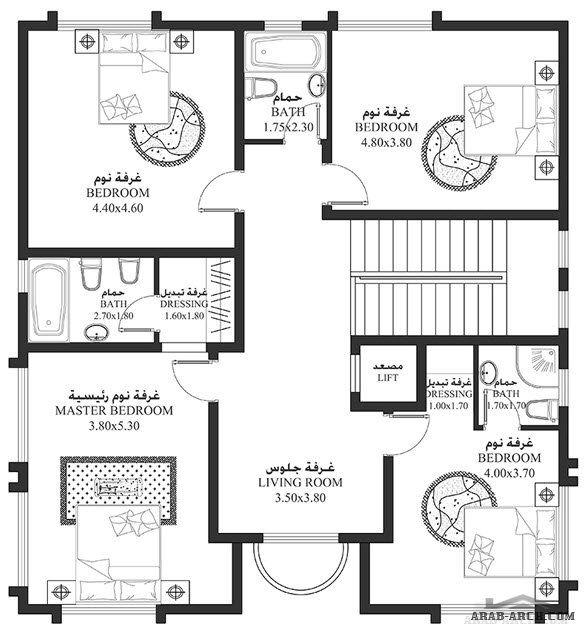 خرائط الفيلا 4 غرف 292 متر مربع طابقين سكن أبعاد المسكن 11 62م عرضx12 53م عمق Arab Arch Apartment Floor Plans Floor Plans House Layouts