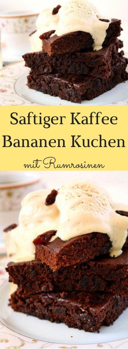 Saftiger Kaffee Bananen Kuchen mit Rumrosinen ! Dieser unglaublich saftige Kaffee Bananen Kuchen mit Rumrosinen ist schon fast mehr Brownie als Kuchen! Der perfekte Kuchen mit Kaffeehaus-Flair für gemütliche Stunden im Herbst und Winter!