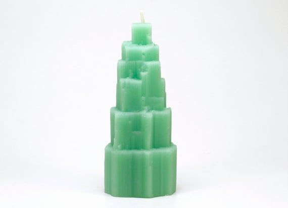 Green Peppermint scented Aurora Falls Beeswax Candles Complete set / 5 Crystal Candles / Quartz, Obe