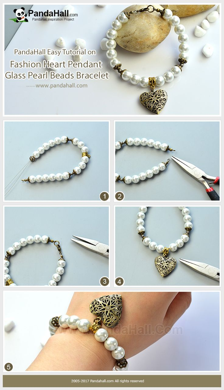 Pandahall DIY Idea on Fashion Heart Pendant Glass Pearl Beads Bracelet Thread glass pearl beads, Tibetan style beads caps, stardust spacer beads,Tibetan style hangers and heart filigree pendant in a certain sequence, and you will easily get a vintage style bracelet!