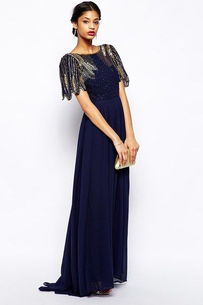 Winter bridesmaid dresses | Virgos Lounge  We adore the vintage style embellishment on this stunning maxi gown.  Lena Maxi Dress, £95