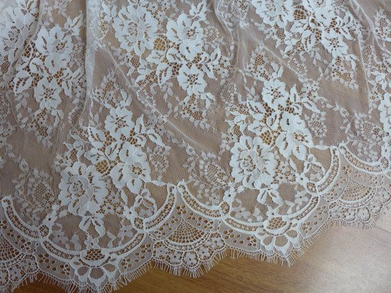 Gorgeous bridal lace fabric french chantilly lace by lacelindsay
