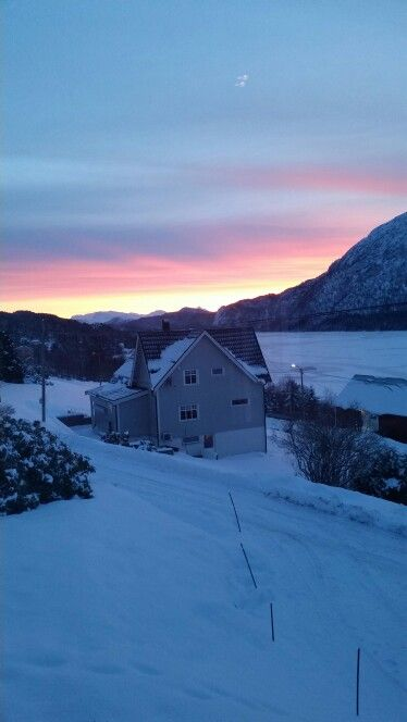 My view from the kitchen ☺ Sunrise in Norway