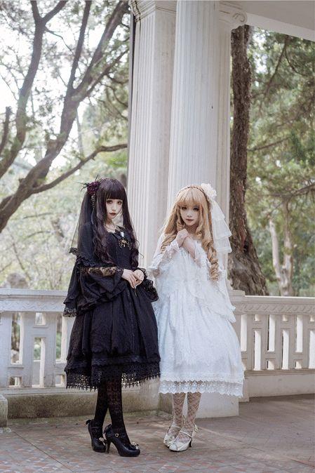 ZJ Story ~Black Angel & White Angel~ Gothic Lolita OP Dress - My Lolita Dress