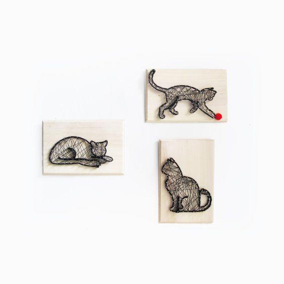 Black Cat DIY kit String art kit All included by Kolamaya