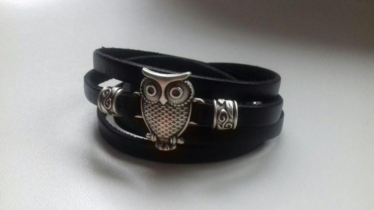 Leather & zamak bracelet