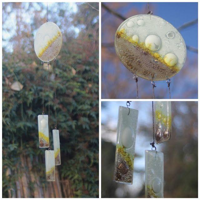 Moviles - Llamador de angeles en vitrofusion (fused glass)  (consultar por diseños y colores)