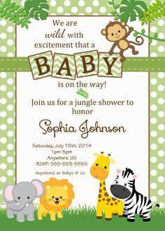 free safari baby shower invitations - Google Search