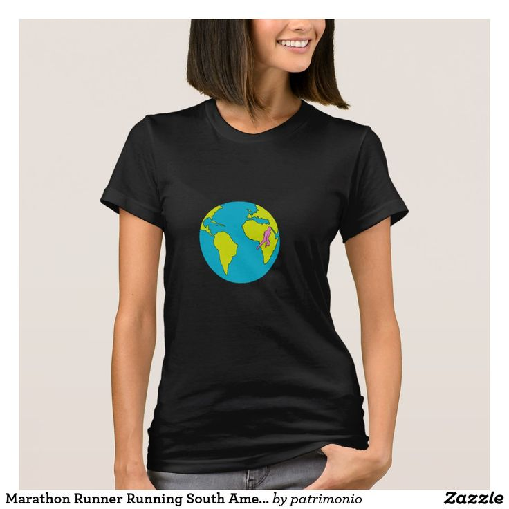 Marathon Runner Running South America Africa Drawing. Black t-shirt for women featuring a drawing style illustration of a marathon triathlete runner running viewed from the side set inside a globe showing South America and Africa. #marathon #runner #tshirt