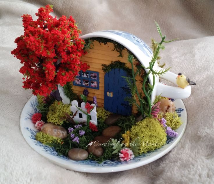 Fairy Garden in a Cup & Saucer, Miniature Cup & Saucer Garden by Cardinal on the Mantel