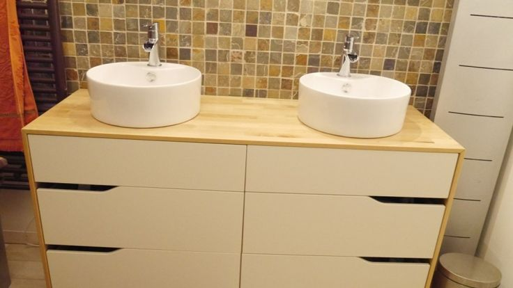 Transformer commode en meuble salle de bain salle de - Customiser un meuble de salle de bain ...