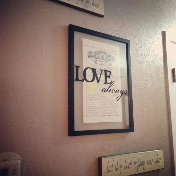 Marriage License In A Frame