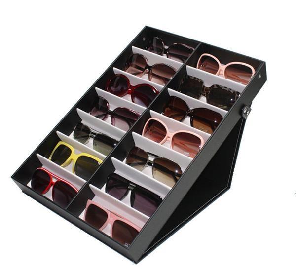 14 Piece Extra Large Black Eyeglass Sunglass Glasses Display Case