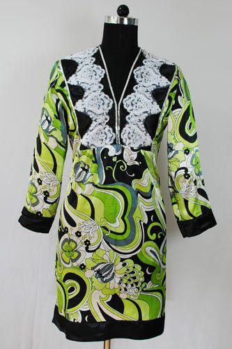 Green Satin Printed Tunic
