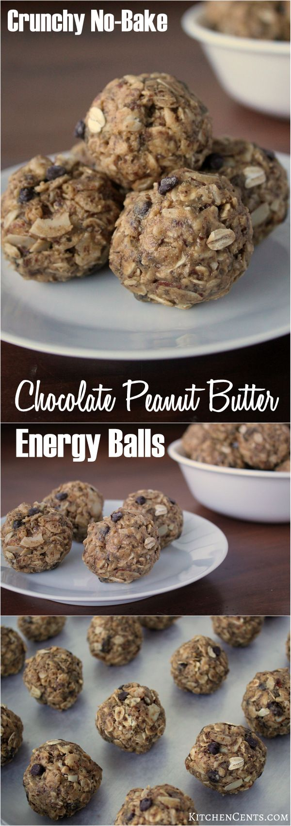 Easy Crunchy No-Bake Chocolate Peanut Butter Energy Balls    are great for breakfast, lunch, or a quick on-the-go snack.  Filled with oats, almonds, flaxseed, peanut butter and more, they're power-filled bits of goodness packed with lots of flavor.
