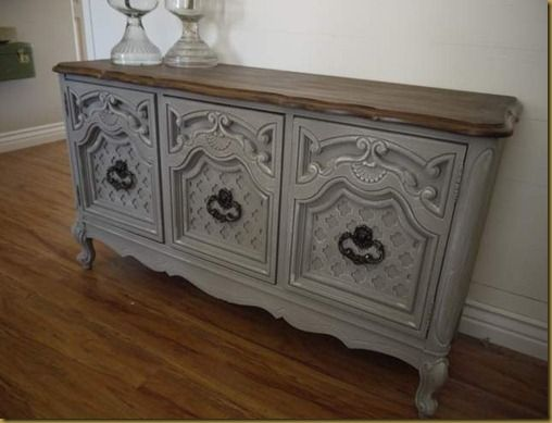 Beautiful French Gray Buffet Homemade Chalk Paint Recipe