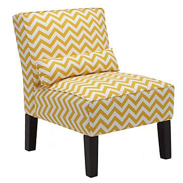 Add a pop of pattern to your space with a yellow chevron chair! Bailey Accent Chair in Zig Zag, $399.00 #ZGallerie