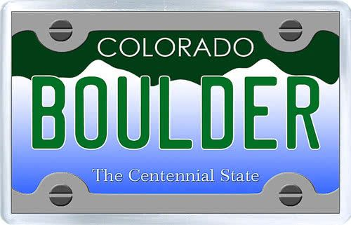 $3.29 - Acrylic Fridge Magnet: United States. License Plate of Boulder Colorado