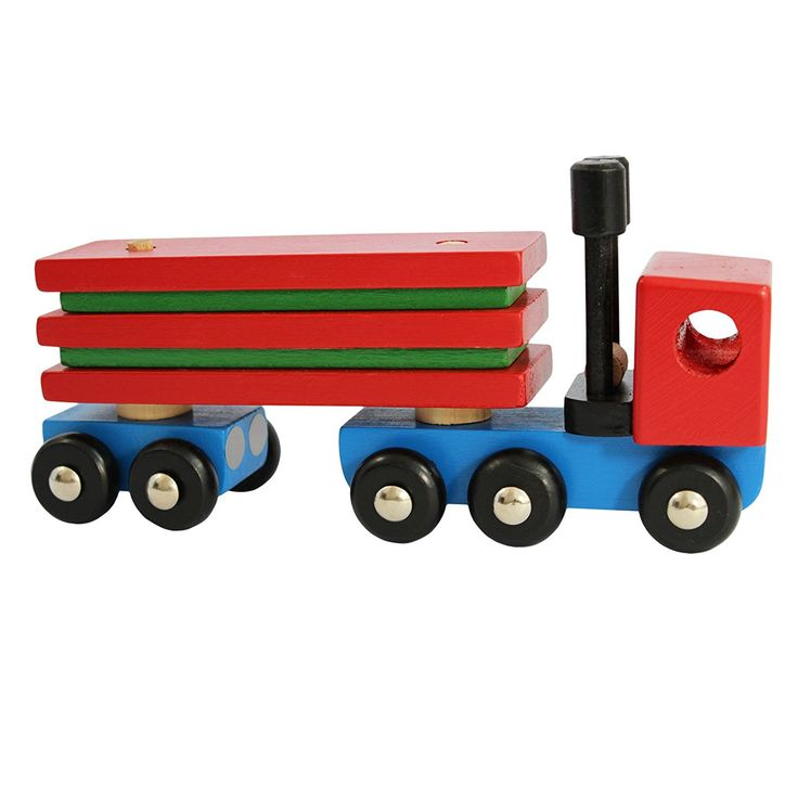Obique Children's Wooden Toy Articulated Lorry With Five Wooden Blocks: Amazon.co.uk: Toys & Games
