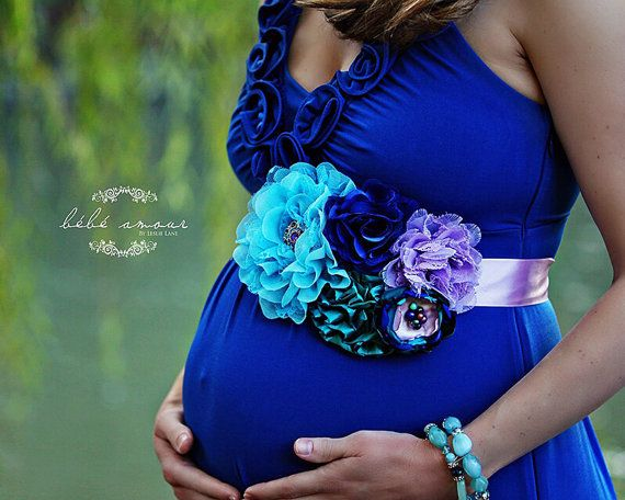 Peacock themed fall Maternity Sash in Royal by KaitybugsKreations, $28.50