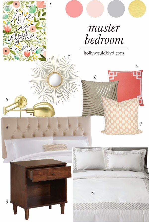 Coral peach gold and gray bedroom master bedroom our new for Peach and gold bedroom