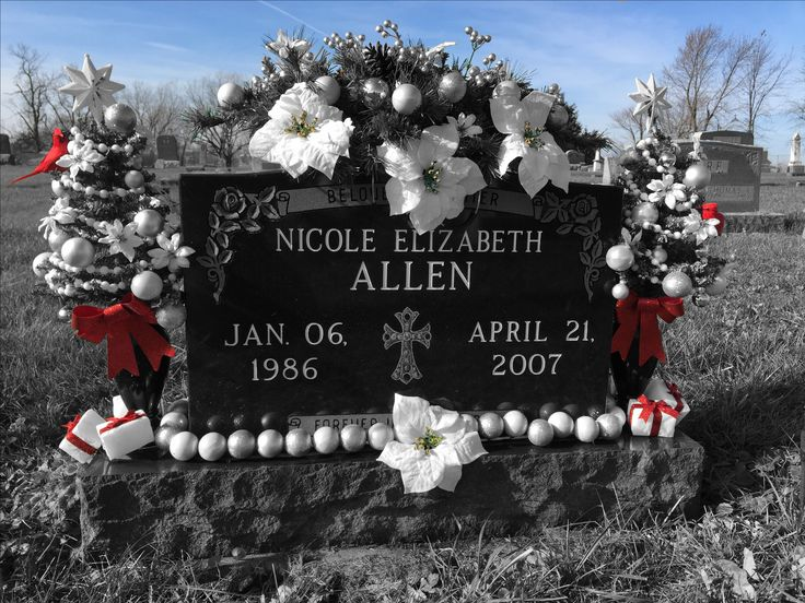 2016 cemetery decorations Christmas floral arrangements for Nicole.  Created with Color Splash app.