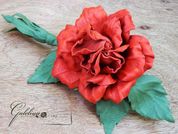 LEATHER RED  ROSE   flower  pin brooch leather by Galelina on Etsy