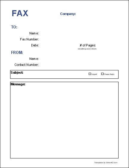 Blank Fax Cover Page | Free Fax Cover Sheet Template - Printable Fax Cover Sheet
