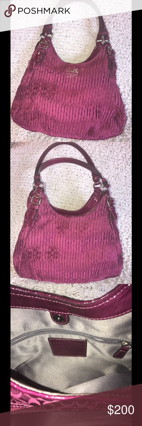 Brand new COACH 👛 Brand-new burgundy COACH handbag!!  Excellent condition!  Save if you bundle up. Spring cleaning out my designer handbags. Coach Bags Shoulder Bags