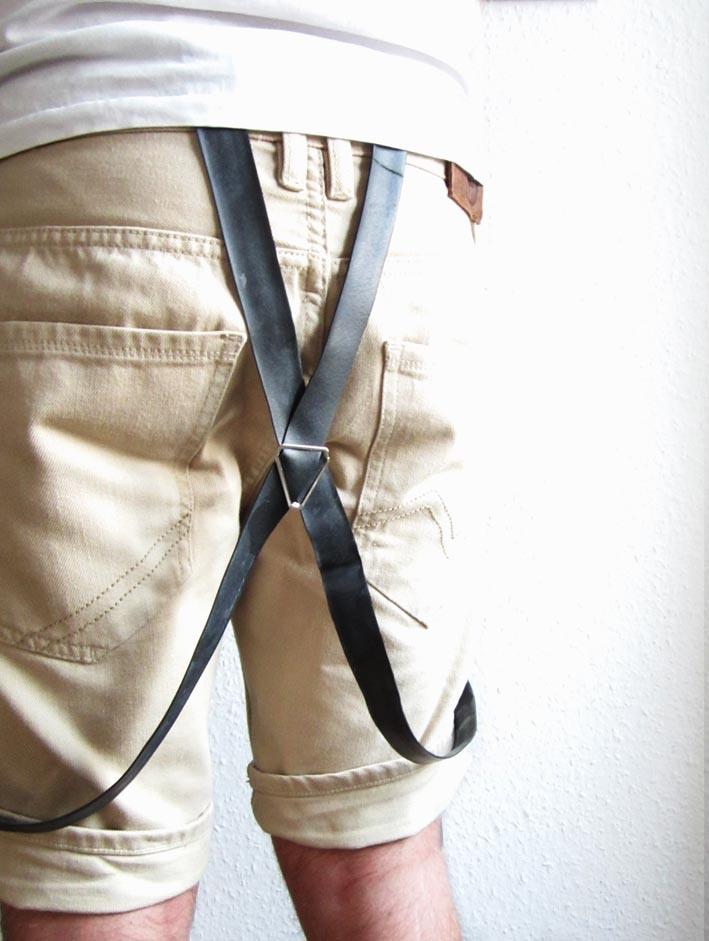 Suspenders made of bicycle inner tubes