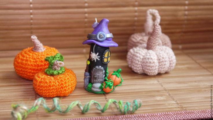 Купить Подвеска-статуэтка Домик Хэллоуин чёрный - черный, Хэллоуин, тыквы, домик, домик ведьм
