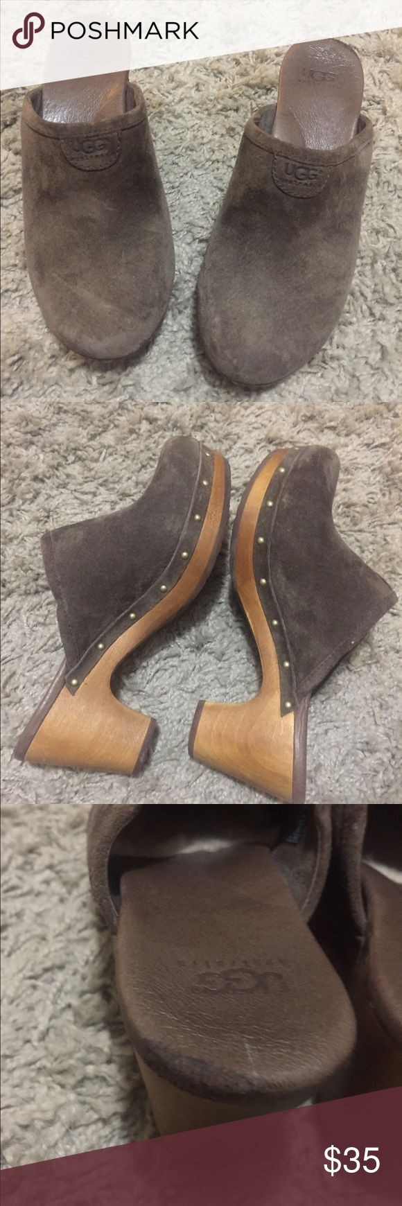Ugg suede chocolate brown wooden heel clogs Ugg Australia chocolate brown suede clogs. EUC, with extremely minor scratch on heel on one shoe (shown in 3rd photo) this is not noticeable when worn. Wooden block heel, lined with sheep's wool. Size 6. UGG Shoes Mules & Clogs