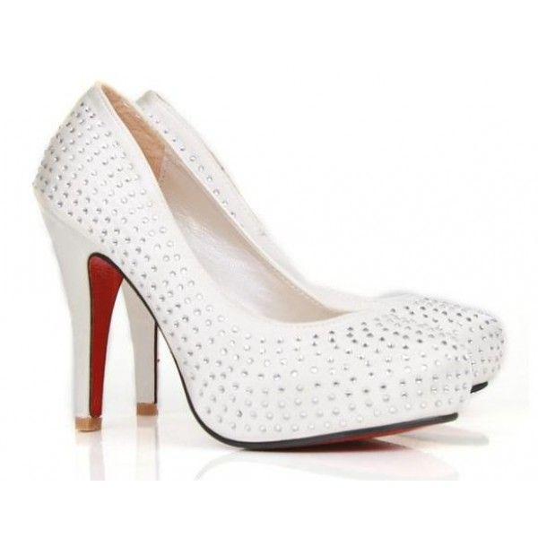 White Wedding Shoes for Women | Home / Women White Luxury Diamond Wedding High Heel Shoes
