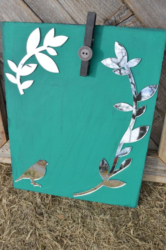 Teal Clothes Pin Picture Frame with Mirrors by TwinseyWhimsy, $13.00