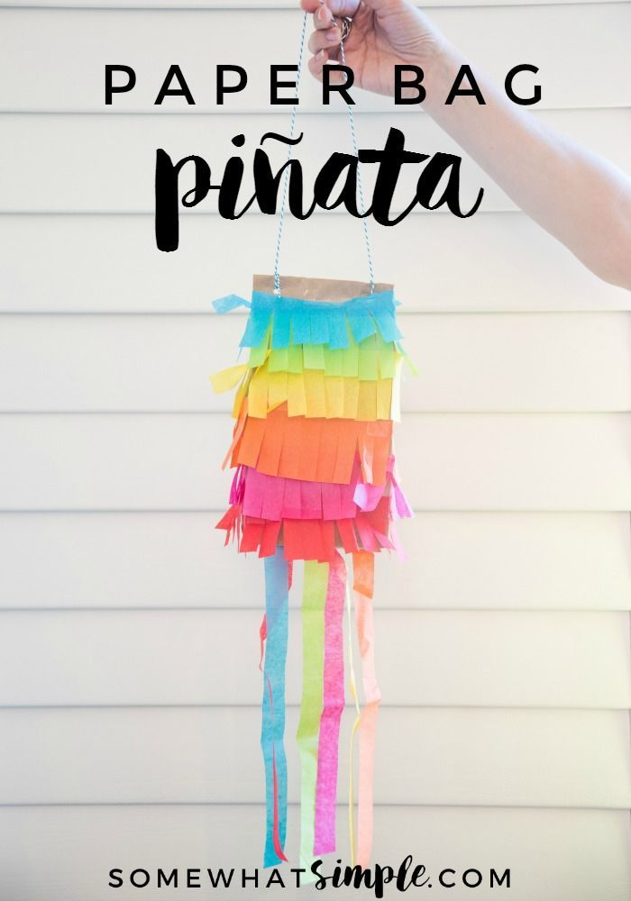 """Cinco de Mayo Kids Craft - Kick your party up a notch on the """"fun meter"""" with these simple paper bag pinatas!"""