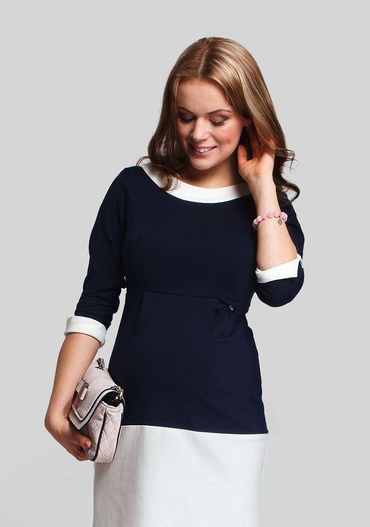 Rochia Monaco este acea rochie de maternitate ce se afla intre un look smart-casual si unul elegant. De lungime medie, combinatia bleumarin - crem o face o rochie potrivita pentru o zi la birou sau intalniri formale. Este foarte usor de imbracat datorita fermoarului metalic de la spate. Monaco este combinatia ideala de chic classic cu mult comfort.  #maternitystyle #maternitychic #burticabusiness