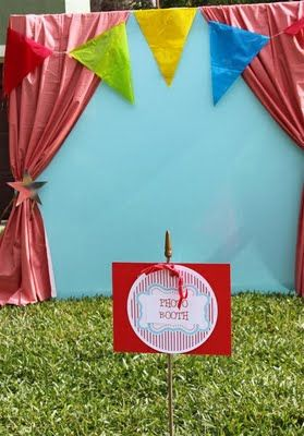 """carnival photo booth and other ideas - looks like you could use two plastic table covers for the """"curtains"""""""