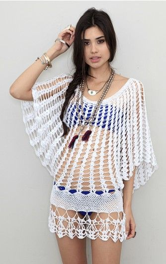 crochet butterfly sleeve cover-up/ I would like this as a cover up over a T or a dress, not for the beach