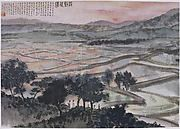 Fu's late landscapes reflect both his direct encounter with nature and his continuing use of traditional artistic devices. Here, the deep vista, defined by layered ranks of mountains rendered in progressively paler shades of ink, reflects Song dynasty (960–1279) principles for how to suggest recession