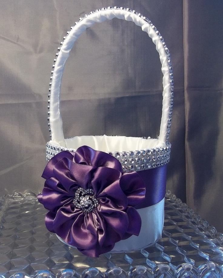 Ivory Flower Girl Basket with Amethyst Purple Flower and Rhinestone Mesh handle and Trim. $50.00, via Etsy.
