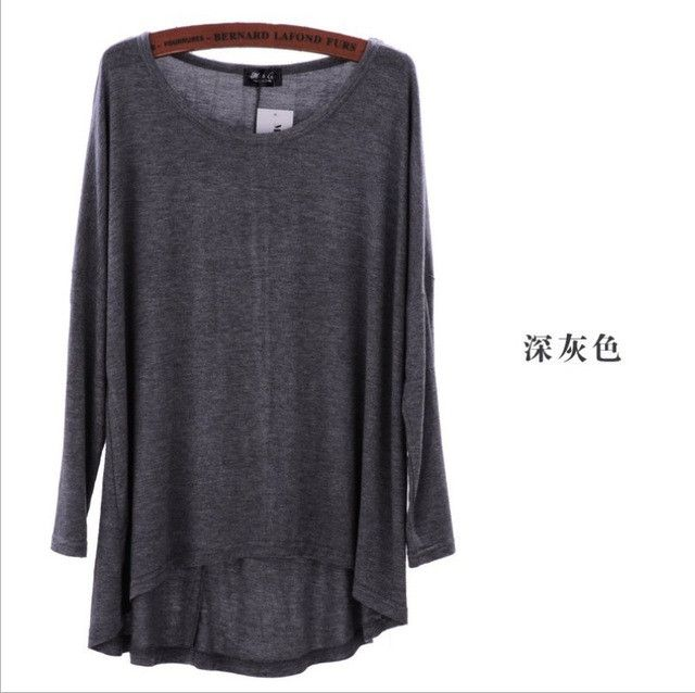 T48 Celebrity Style Coloured Slouchy Oversized Uneven Hem Full Sleeve T-shirt Long Top Modal T-Shirts Tees 2016 New